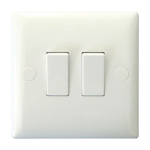 Varilight XO2W Value Polar White 2 Gang 10A 1 or 2 Way Rocker Light Switch